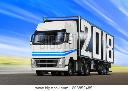 White truck like incoming year 2018 moving on road