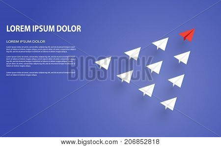 Leadership concept. One red leader plane leads other white planes forward. Red and white paper planes. Teamwork, leadership, success, motivation and business concept.