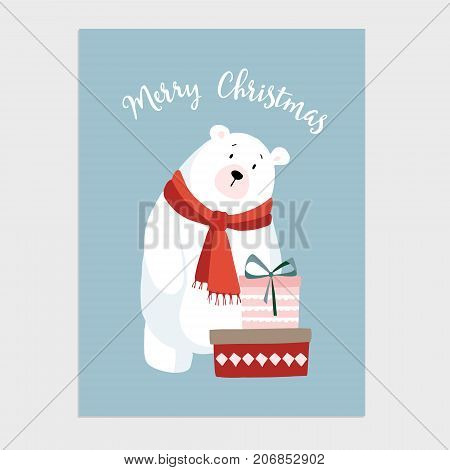 Cute Christmas card, invitation with hand drawn polar bear with knitted scarf and gift boxes with ribbons, vector illustration background.