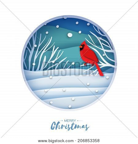 Red cardinal sitting on a branch. Merry Christmas Greeting Card.Bird sitting on a birches branch in paper cut style. Origami Fall winter. Happy holidays. Layered Blue background. Vector illustration.