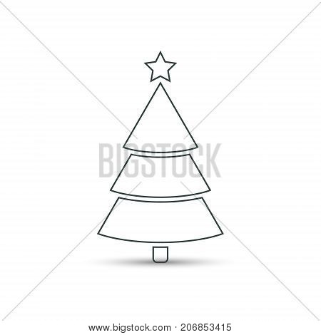 Christmas tree flat outline icon vector simple design with shadow. Line symbol of fir-tree.