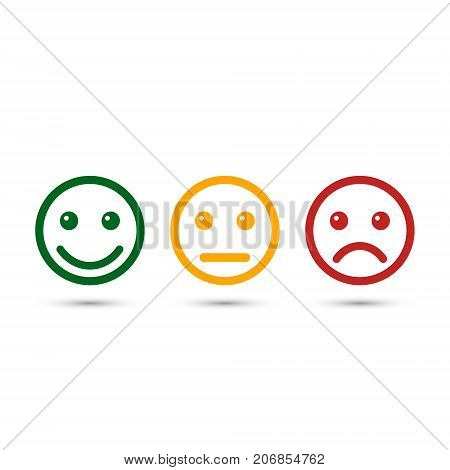Smiley emoticons icon positive neutral and negative vector isolated illustration of red and green different mood.