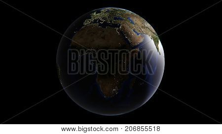 The lights of cities on Earth in Asia day in Europe and Africa come morning 3d rendering the elements of this image are furnished by NASA