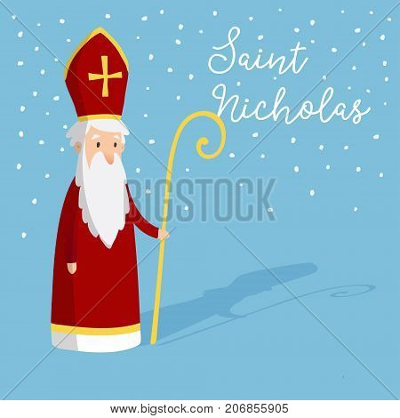 Cute greeting card with Saint Nicholas with mitre and pastoral staff. European winter tradition. Hand drawn design. Vector illustration background with falling snow.