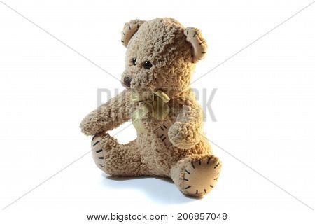 Plush toy bear isolated on white background