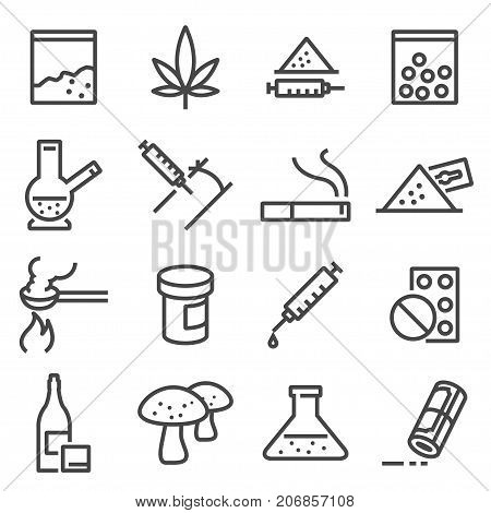 Drugs line icons. Contains such icons as marijuana cocaine heroin LSD extasy