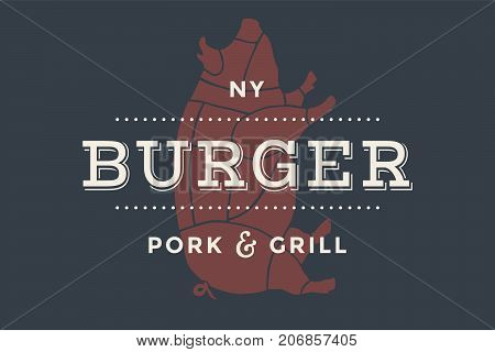 Logo of Burger bar with grill symbols, fork, text Burger, Pork, Grill. Brand graphic template for meat business - restaurant, bar, cafe, food court, design - menu, poster, label. Vector Illustration