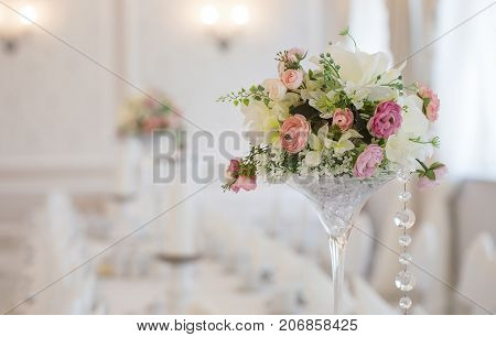 Close up of a wedding table decoration with copy space