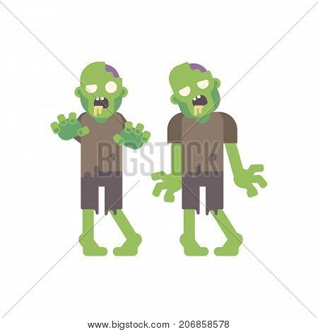 Two Zombies Walking. Two Living Dead In Torn Clothes. Halloween Flat Character Illustration