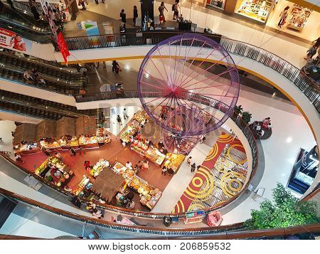 CHIANG MAI THAILAND - SEPTEMBER 28 : Department store interior top view with aisle at Central Festival on September 28 2017 in Chiang Mai Thailand.