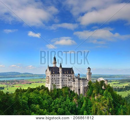 Neuschwanstein Castle the famous castle in Germany located in Fussen Bavaria Germany