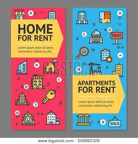Building House or Home and Apartment for Rent Flyer Banner Posters Card Set Elements Architecture for Web and App Design. Vector illustration of Two Banners