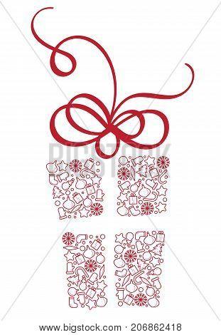 Stylized Gift Box of Christmas Elements. Calligraphy Vector illustration EPS10.
