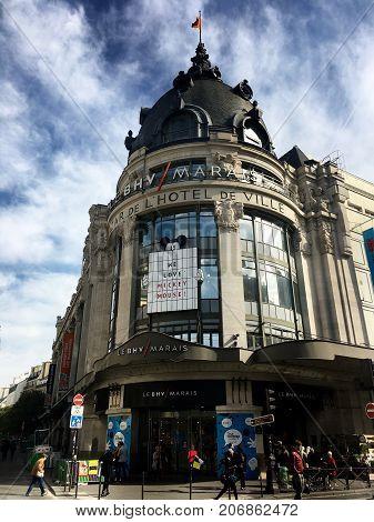 Paris France, 23 September 2017: BHV Bazar de l'Hotel de Ville department store entrance in Le Marais Paris