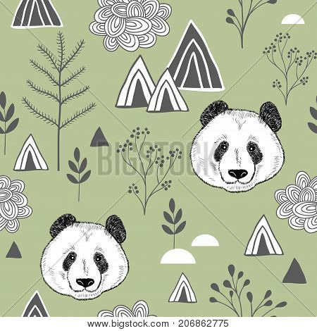 Colorful seamless pattern with cute chinese bear. Wallpaper with panda. Vector illustration for children and adults.
