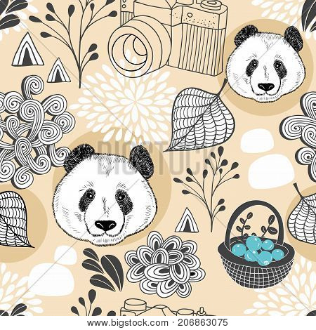 Colorful seamless pattern with cute animals and plants. Endless background with panda. Vector illustration for children and adults.