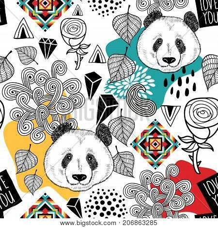 Colorful seamless pattern with cute chinese bear.