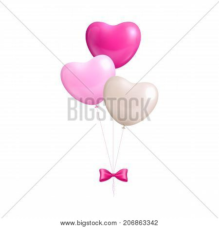Bundle balloons form hearts with bow isolated. A bundle of pink and white balloons with a bow isolated on white background.