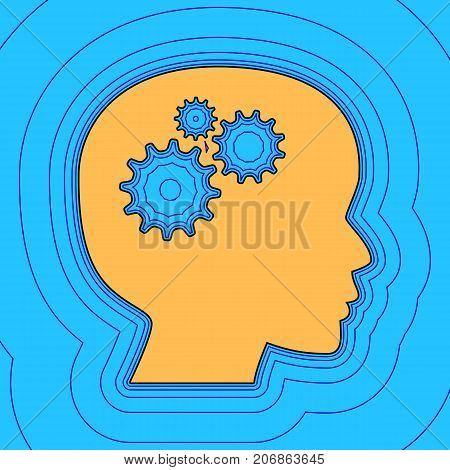 Thinking head sign. Vector. Sand color icon with black contour and equidistant blue contours like field at sky blue background. Like waves on map - island in ocean or sea.