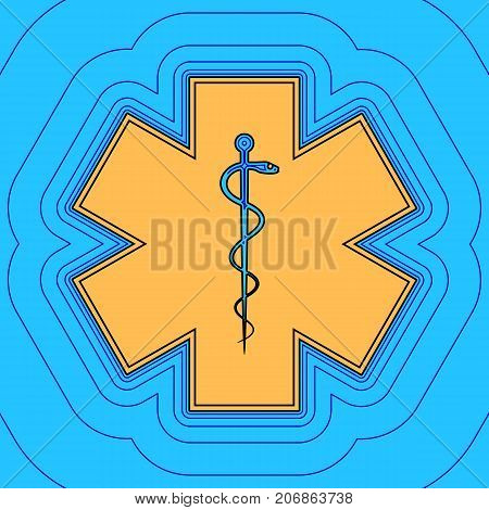 Medical symbol of the Emergency or Star of Life with border. Vector. Sand color icon with black contour and equidistant blue contours like field at sky blue background. Like waves on map - island in ocean or sea.