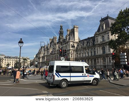 Paris France, 23 September 2017:  Police van in front of Paris City Hall Hotel de Ville waiting for an intervention