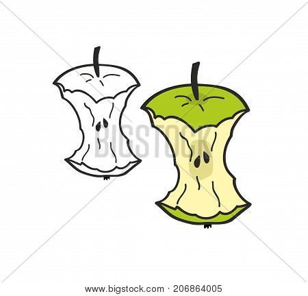 Set of two bitten apples isolated on white background. Colorful and monochrome illustration in vector.