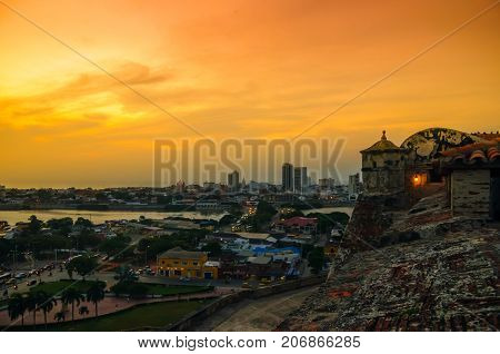 View over cityscape of Cartagena from fortress San Felipe - Colombia poster