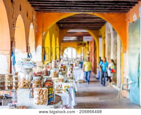 View on sweet market by Portal de Los Dulces in Cartagena - Colombia
