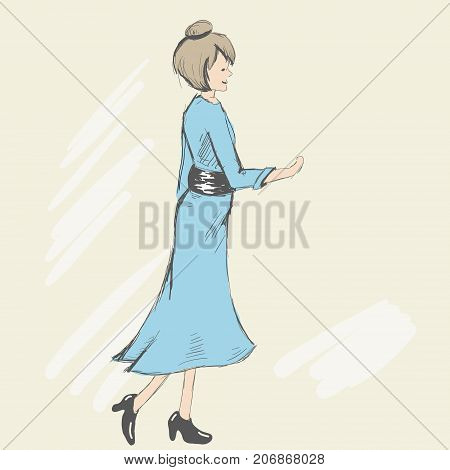 A pretty woman with an open hand ready for handshake. The lady is dressed in an elegant blue dress with a black belt and patent leather shoes with high heels. Sketch style. Vector illustration