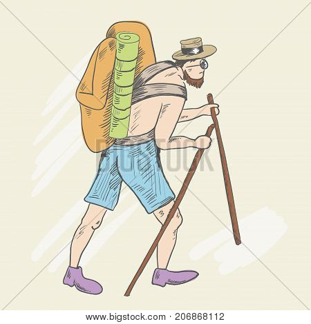 A man with a bare torso, shorts and a heavy backpack rises up the hill. In the hands of a stick. A hat is put on his head. In sunglasses. Stooped. Sketch style. Vector illustration