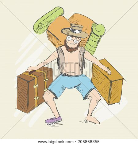 The tourist falls from fatigue. The man is carrying suitcases. There are a backpack with foam for a hike behind his back. The bearded man lost one sneaker. Sketch style. Vector illustration