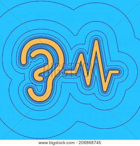 Ear hearing sound sign. Vector. Sand color icon with black contour and equidistant blue contours like field at sky blue background. Like waves on map - island in ocean or sea.