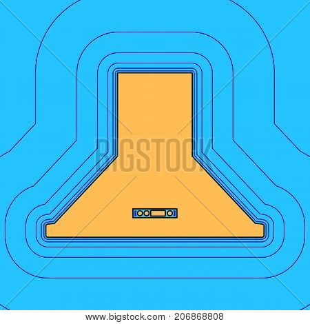 Exhaust hood. Kitchen ventilation sign. Vector. Sand color icon with black contour and equidistant blue contours like field at sky blue background. Like waves on map - island in ocean or sea.