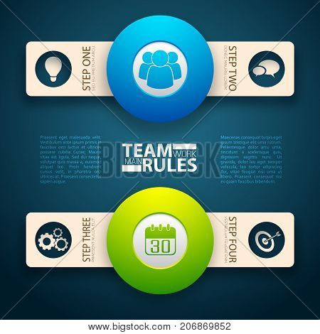 Teamwork rules conceptual background with two isolated horizontal bands round pictograms and two text description columns vector illustration