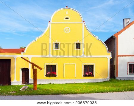 Picturesque house of Holasovice, small rural village with rustic baroque architecture. Southern Bohemia, Czech Republic. UNESCO heritage site.