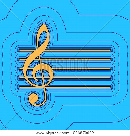 Music violin clef sign. G-clef. Vector. Sand color icon with black contour and equidistant blue contours like field at sky blue background. Like waves on map - island in ocean or sea.