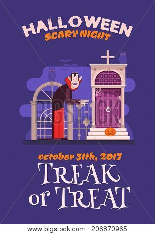 Halloween invitation card with Dracula standing on cemetery gates. Halloween party flyer with cartoon vampire grave or crypt entrance by moon night.