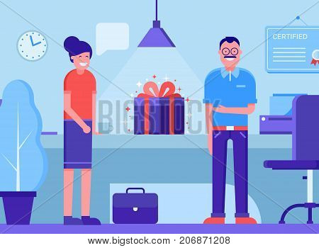 Office presentation concept illustration with man and woman presenting new features or product. Office managers congratulating the employees with gift box on table.