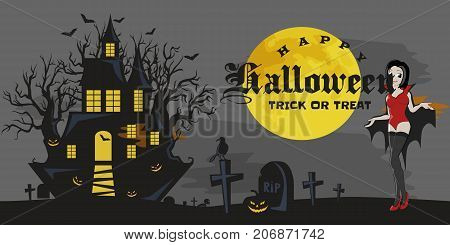 halloween gothic party with vampire girl, fun background for horror invitation on vamp cosplay, sexy dracula woman with fangs on vector flyer, cemetery nightlife poster or banner illustration.