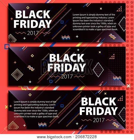 Black Friday sale banner set. Poster Sale. Template in memphis style. Fashionable and modern banners for advertising. Black horizontal banners on a red background. Vector illustration
