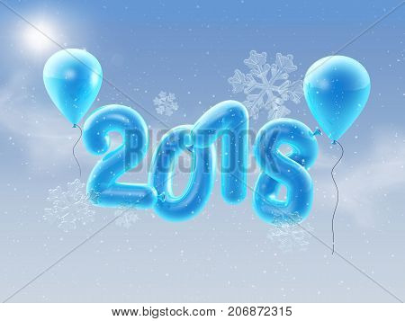 3D illustration of 2018 Happy new year balloons. Happy New Year background with blue number balloons with snowlflakes.