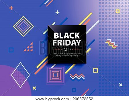 Black friday sale web banner. Poster Sale. Template in memphis style. Fashionable and modern banner for advertising. Black square on a blue background. Vector illustration