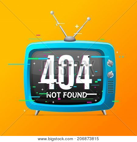 Retro Home TV Not Found Broadcasting Concept Glitch Style Trendy Glitched Geometric Line Noise Defect Element Disconnect Signal. Vector illustration