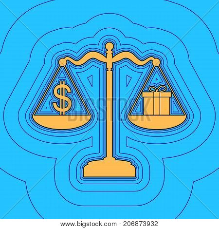 Gift and dollar symbol on scales. Vector. Sand color icon with black contour and equidistant blue contours like field at sky blue background. Like waves on map - island in ocean or sea.