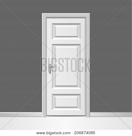 Realistic 3d Closed Modern White Wooden Door with Frame to Grey Wall Interior Design Concept. Vector illustration of Doorway