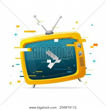 Retro TV Broadcasting Concept Glitch Style Television Display Screen with Arrow Problem Glitched Pixel and Stripe Element. Vector illustration