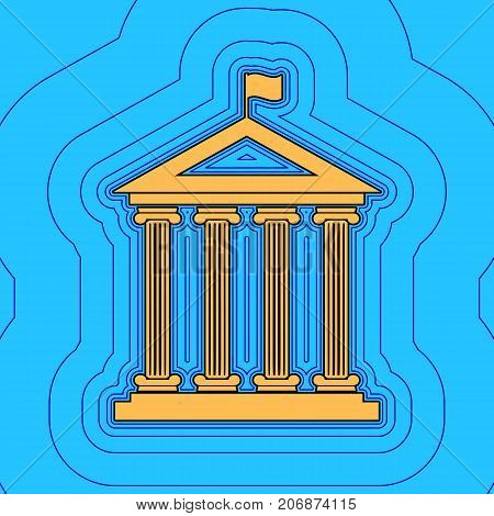 Historical building with flag. Vector. Sand color icon with black contour and equidistant blue contours like field at sky blue background. Like waves on map - island in ocean or sea.