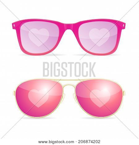 Realistic 3d Sunglasses Pink Lenses Woman Accessory Dream and Love Concept for Party on Beach, Vacation . Vector illustration of Femele Glass
