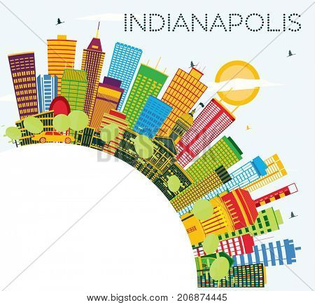 Indianapolis Skyline with Color Buildings, Blue Sky and Copy Space. Business Travel and Tourism Concept with Modern Buildings.