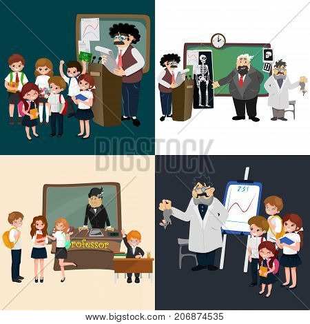 professor and student illustration, Girl and boy with teacher in college classroom, vector campus university, education at school concept, lecturer teaching students. poster